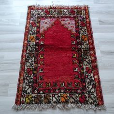 """Antique Oriental Small Red Rug, 25.6"""" x 30.4"""" Home Decor Kilim, Handwoven Rug"""