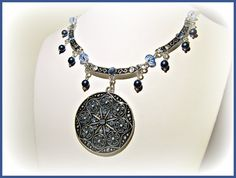 Blue Medallion Statement Necklace  Summer by RomanticThoughts, $52.95