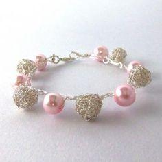 Pink pearl and wire crochet bracelet. Cute simple pink pearl bracelet on Zibbet.