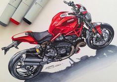Motorcycle Posters, Motorcycle Art, Bike Art, Concept Motorcycles, Ducati Motorcycles, Bike Sketch, Car Sketch, Ducati Monster 1200, Bike Drawing