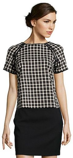 Greylin black and ivory stretch plaid 'Patterson' short sleeve top