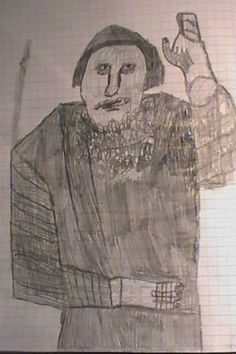 Jesse Ilmari Eronen's drawing of Grigori Rasputin, August 2016.