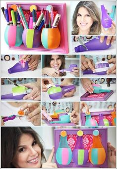To make this organizer you need three bottles and...