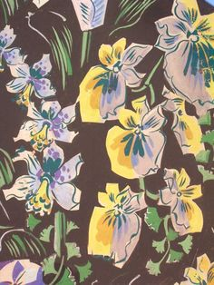 HISTORICAL PATTERNS DESIGNED BY RAOUL DUFY. a spring pattern with daffodils and pansies.
