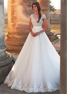 Buy discount Stunning Tulle Jewel Neckline A-Line Wedding Dress With Lace Appliques & Belt at Dressilyme.com