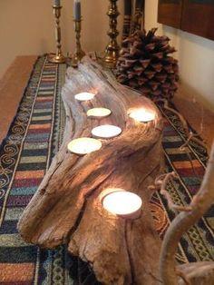 Driftwood, Large center piece, wedding decor, rustic candle holder, Driftwood candle holder,
