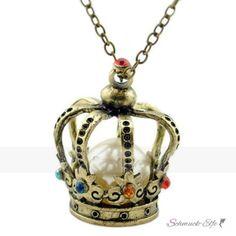 lange Kette STRASS  Krone mit Perle  im Organza Beutel