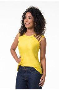 Blusa vazada amarela com tachinhas