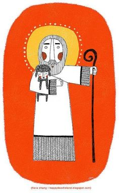 Global Christian Worship — The Good Shepherd Finds the Prodigal Sheep with. Catholic Art, Religious Art, Happy Doodles, Biblical Art, The Good Shepherd, Art Deco Posters, Mexican Folk Art, Sacred Art, Bible Art