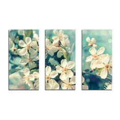 CARA SAVEN | Blossoms Set of Three Canvases - Homeware - 5rooms.com Canvases, Blossoms, Design Inspiration, Invitations, Wall Art, Spring, Painting, Outdoor, Image