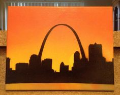 St. Louis Arch Skyline at Sunset {Spray Paint} 8x10 Canvas