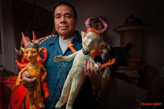 "The Linares family in Mexico City (on the picture, Felipe Linares) is one of the the best known practitioners of a craft known as ""cartonería"" or the use of papier-mâché to create hard sculptured objects. They have an international reputation for the creation of forms such as skeletons, skulls, Judas figures and fantastical creatures called ""alebrijes""."