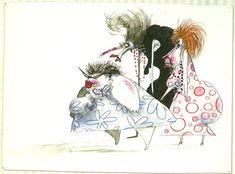Three Aunties, 1981-1983  Pen & ink, watercolor, colored pencil.