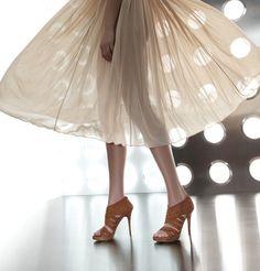 Blush skirt with Stuart Weitzman platform sandal