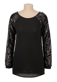 Sequin sleeve high-low tunic top (original price, $34) available at #Maurices