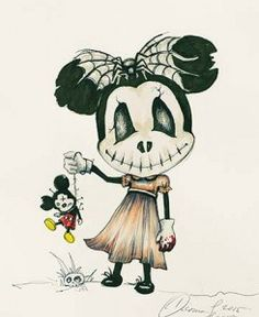Evil Minnie Mouse - Art Illustration By #DianaLevin #TwistedDisney #EvilMinnieMouse #Macabre #Creepy #LowbrowArt #Lowbrow