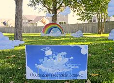 Cloud obstacle course game at a My Little Pony party!  See more party ideas at CatchMyParty.com!  #partyideas #mylittlepony