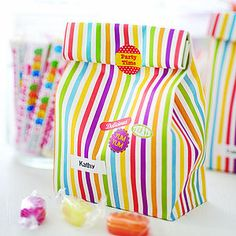 Colorful bags with some cute stickers