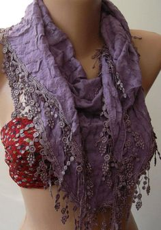 Lilac Elegance Shawl / Scarf with Lace Edge by womann on Etsy
