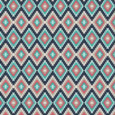 Navy Coral and Teal Diamond Tribal Knit Jersey Fabric, Recollection for Art Gallery Fabrics, 1 Yard 14 Inches KNIT BOLT END