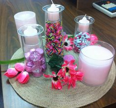 I set this Pink Party display up in my office to promote Breast Cancer Awareness!  It really brightened up my desk and shows one of the ways you can use the PartyLite Symmetry set.  I received a lot of compliments on my decor and people were able to help themselves to the sweet treats :)