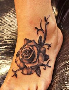 Black and White Rose Tattoo on Foot