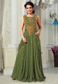 $172.65 Moss Green Net Designer Gown 56123