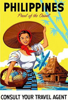 Philippines - Pearl Of The Orient - Travel Advertising Poster Poster Boys, Retro Poster, Poster Art, Kunst Poster, Philippines Country, Les Philippines, Philippines Travel, Philippines Culture, Filipino Art