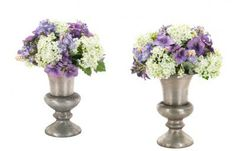 """Snowball Forget-Me-Not, White Blue,Pewter Urn, Set of 2 HEIGHT X WIDTH: 9"""" X 6"""" COLORS: white, blue"""