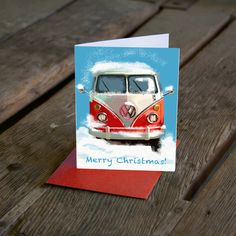 Excited to share this item from my #etsy shop: VW Bus Christmas Card, Red car holiday card, Volkswagen Christmas card, custom car card, Holiday card, car enthusiast card 5.5x4 set of 1o
