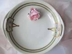 Large Vintage Haviland French Pink Green Rose by jenscloset