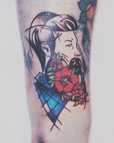 Oldschool tattoo beardmen