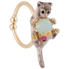 Les Nereides Les Nereides Loves Animals Siamese Cat And Blue Stone Adjustable Ring Fox Jewelry, Evil Eye Jewelry, Animal Jewelry, Stone Jewelry, Jewelry Rings, Stone Rings, Beaded Rings, Beaded Jewelry, Chain Jewelry