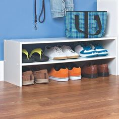 Products ClosetMaid 6 Pair Stackable Shoe Rack Finish: Espresso Preventing Water Damage in the Kitch Wood Shoe Rack, Diy Shoe Rack, Shoe Storage Cabinet, Bench With Shoe Storage, Shoe Racks, Shoe Rack In Closet, Closet Shoe Storage, Closet Rod, Master Closet