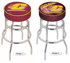 The Retro Look Central Michigan Chippewas Bar Stool has a 4-inch cushion with a double-ring base and a chrome finish. Comes in 2 seat heights. Free shipping. Visit sportsfansplus.com for details.