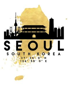 SEOUL SOUTH KOREA SILHOUETTE SKYLINE MAP ART - The beautiful silhouette skyline of Seoul and the great map of South Korea in gold, with the exact coordinates of Seoul make up this amazing art piece. A great gift for anybody that has love for this city. seoul south korea downtown silhouette skyline map coordinates souvenir gold deificus art