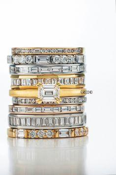 【オレッキオ】エメラルドカットダイヤの婚約指輪& エタニティーリング