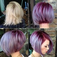 Amazing a-line stack Bob with purple and lilac coloring