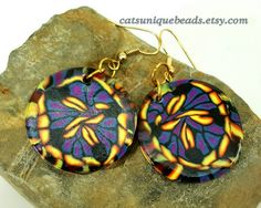 Violet, Blue, Black and Yellow abstract dangle bead earrings - Item #E1087 - Polymer Clay earrings - Women' earrings - pinned by pin4etsy.com #etsymnttgu20