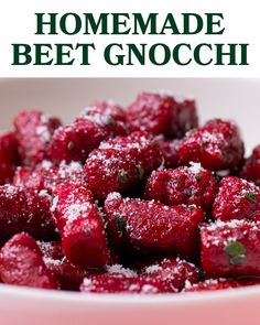 Homemade Beet Gnocchi This beautifully red beet gnocchi is the perfect festive dish to serve for a Galentine& Day party or a Valentine& Day date! Recipe/recipe/beet-gnocchi Discover more fun and healthy recipes like this one in our new Goodful Cookbook Beet Recipes, Vegetarian Recipes, Cooking Recipes, Smoothie Recipes, Healthy Recipes, A Food, Food And Drink, Comfort Food, Pasta Dishes