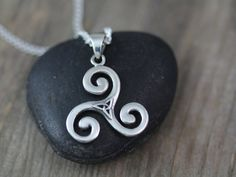 Triskelion Necklace With triquetra, Sterling silver Triskele Necklace, Triple Spiral Pendant, Celtic Jewelry, Gifts for Athletes