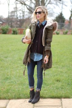 Warm parka with denim layering