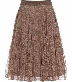 REISS Juniper Pleated Lace Skirt