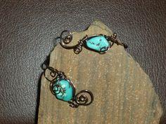Aqua stone Bead Gun metal Cuff Bracelet  by BazaarCharlotte, $25.00