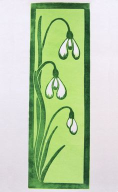 Snowdrop reduction linocut print