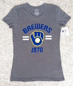 NEW Womens(XS) MILWAUKEE BREWERS 1970 T-SHIRT Gray/Blue/Yellow Short-Sleeve Top #5thOcean #MilwaukeeBrewers