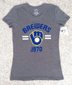 NEW Womens(XS) MILWAUKEE BREWERS 1970 T-SHIRT Gray/Blue/Yellow Short-Sleeve Top #5thOcean #MilwaukeeBrewers
