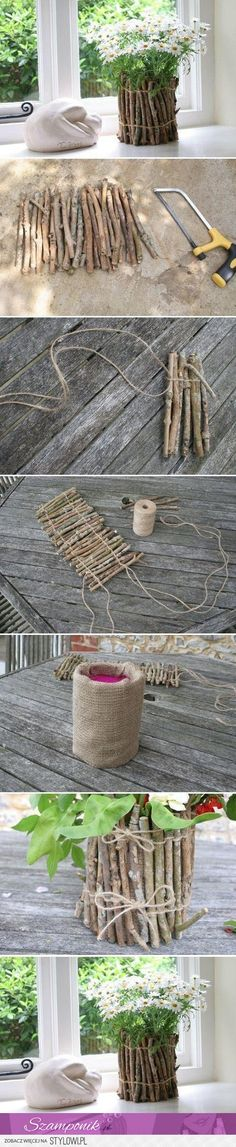 Burlap & wood sticks....easy peazy
