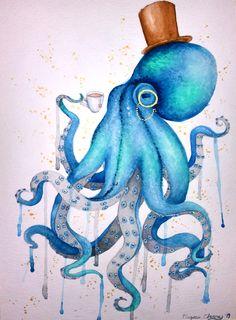 Steampunk Octopus in watercolor – Octopus Tattoo Octopus Drawing, Octopus Painting, Octopus Tattoo Design, Octopus Tattoos, Painting & Drawing, Octopus Artwork, Octopus Octopus, Art And Illustration, Tatoo