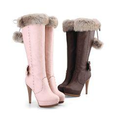 Elegant Brown PU Stiletto Heel Lovely Bowtie Knee High Boots